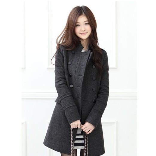 2013 Free Shipping Women Medium-long Slim Stand Collar Double Breasted Wool Coat Trench Outerwear