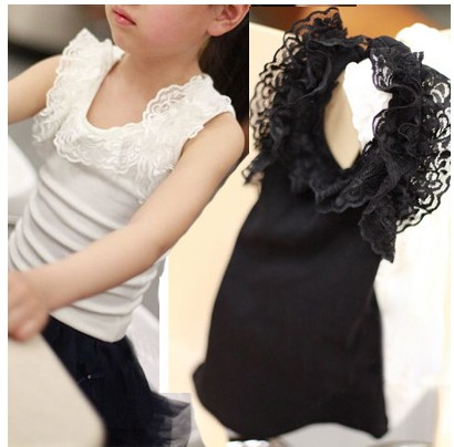 2013 Girls Shirt short  summer female child baby 100%  cotton vest   Girls vest dress kids summer clothes Free shipping
