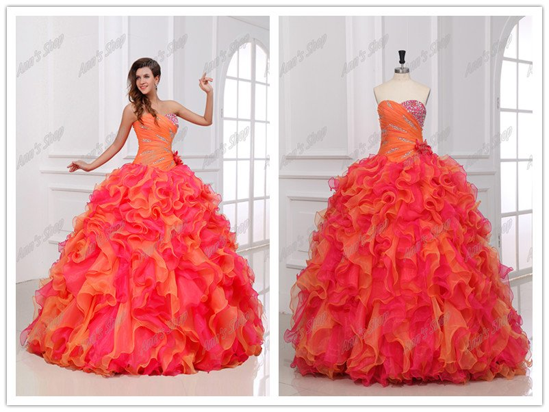 2013 Gorgeous Ball Gown Pink&Orange Sweatheart Crystal Ruffles Floor Length Quinceanera Dresses