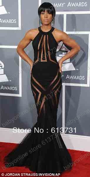 2013 Gremmy Awards Sexy Diva Kelly Rowland See Through Black Mermaid Celebrity Red Carpet Dresses