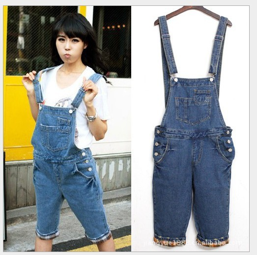 2013 Han edition loose Flanging denim overalls women fashion jumpsuits Jeans Shorts Denim Jumpsuit Free Shipping