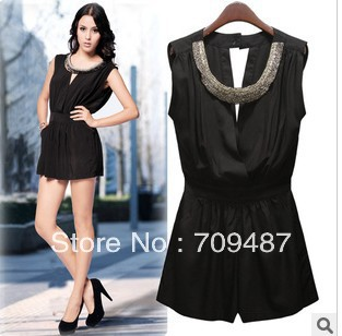 2013 Handmade beads V Collar Slim sexy sleeveless jumpsuit pants coveralls piece pants