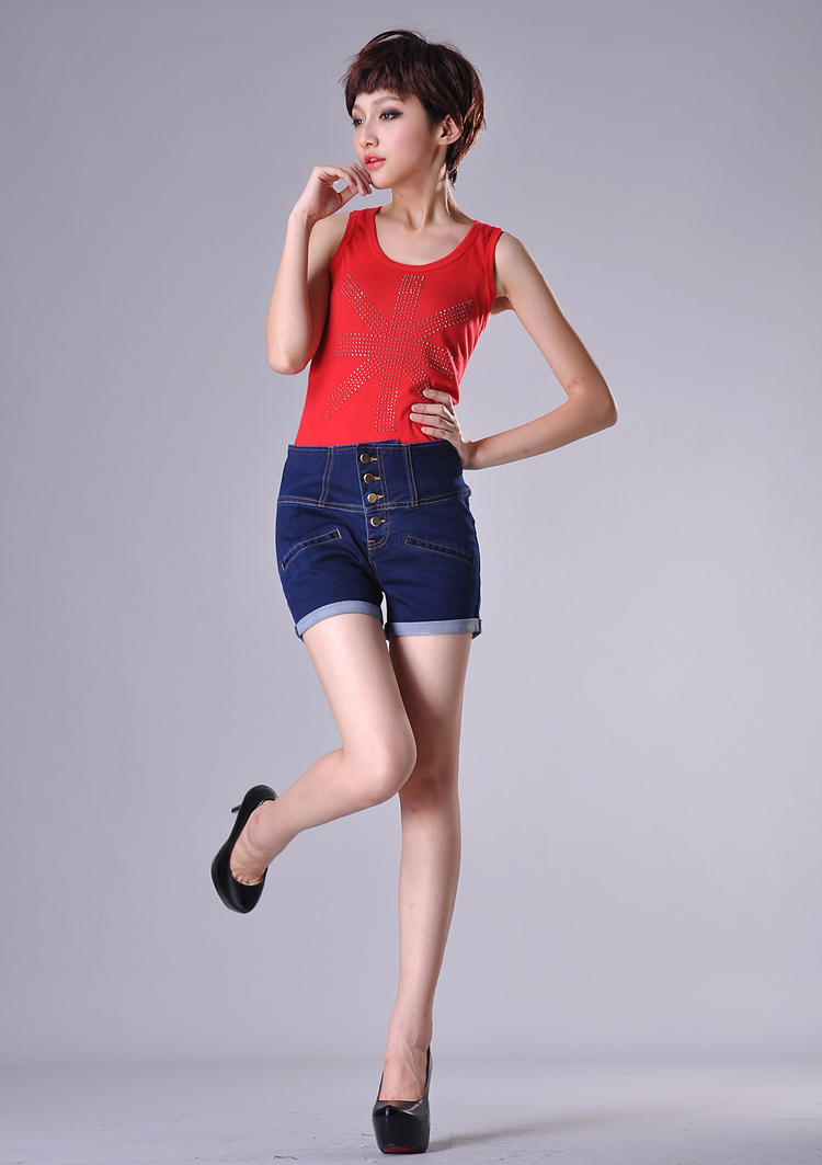 2013 High Denim Waist shorts_single breasted high waist denim shorts women roll-up shorts_summer shorts_free shipping