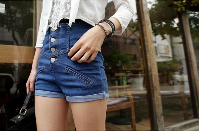 2013 High Waist Single Breasted Women Denim Jean Shorts,Short Pants