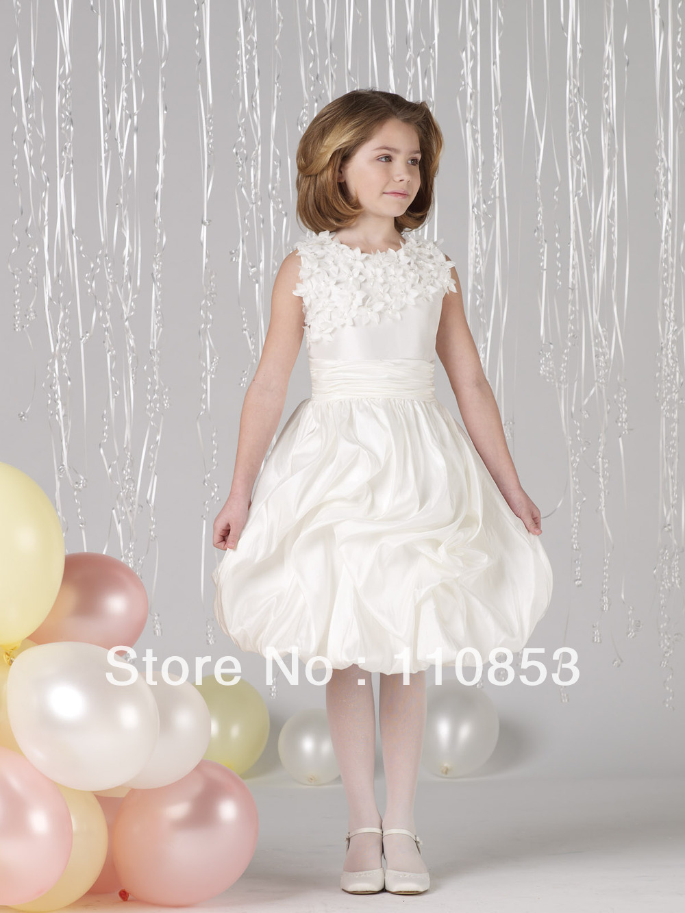 2013 Hot Sale Cute Taffeta Scalloped Appliques Ball Gown Flower Dress For Wedding  Wedding Gown