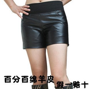 2013 Hot sale Genuine leather short black,crochet lace shorts,new style elastic waist shorts,genuine leather pants summer boots