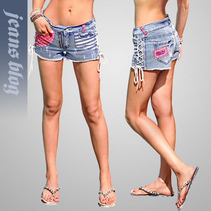 2013 Hot Sale  Ladies Striped Shorts Fashion Sexy Jeans Pants  Free Shipping 9285