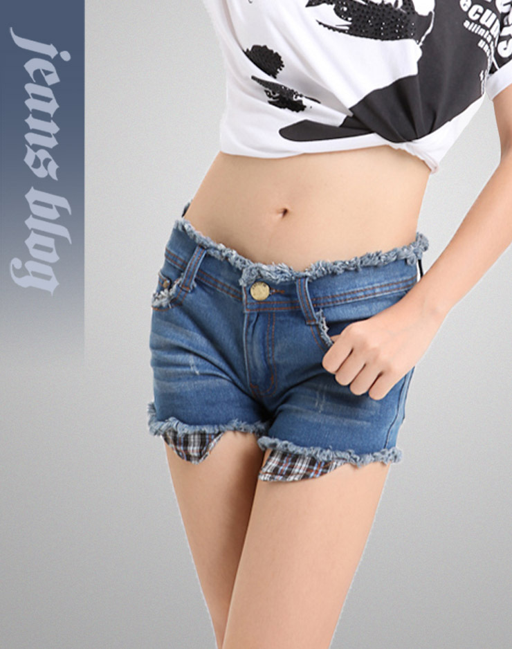 2013 Hot Sale Sexy Ladies Short  Denim Jeans Low  Waist Patchwork Pants  Free Shipping 3026