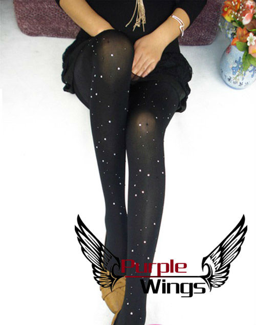 2013 hot sell Ladies Pantyhose Stocking 80D Leggings Tights sexy Comfortable diamond crystal shining  Black