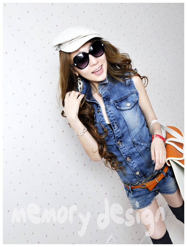 2013 hot selling denim low waist split jumpsuit spring and summer fashion vest shorts jeans romper women women clothing