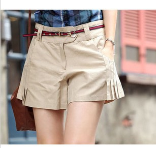 2013 Korean spring and summer new solid color simple belt folds shorts culottes (Belt) 8005 #