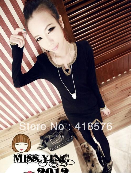 2013 Korean version of spring ladies split solid color gold-rimmed decorative thread Slim primer shirt long-sleeved T-shirt