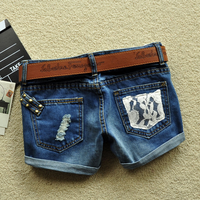 2013 Lace Pocket Rivet Ornament Denim Short Plus Size Women Blue Jeans free shipping