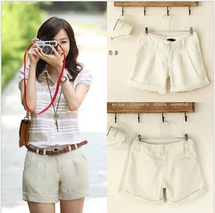 2013 Ladies New Summer Cozy Cotton Short Pants Design Hot Beach White Shorts S-L Wholesale Freeshipping
