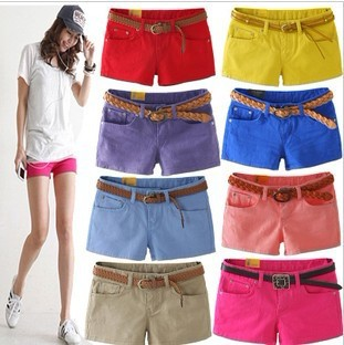 2013 ladies show thin elastic denim candy color short shorts color pencil three points hot pants pants free shipping