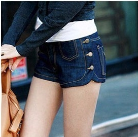 2013 Lady Denim Side Button Shorts, Dark Color Jeans Shorts,Womens' Beach Short Pants Free Shipping