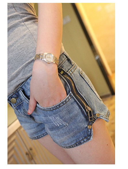 2013 Lady Denim Side Zipper Shorts, Low Rise Jeans Shorts,Womens' Short Pants Free Shipping