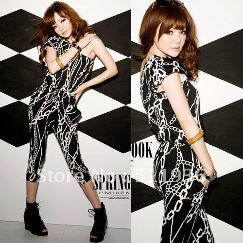2013 Lady Women Black Jumpsuit Fashion Overalls Rompers One-shoulder Pants Cropped Trousers Free Shipping