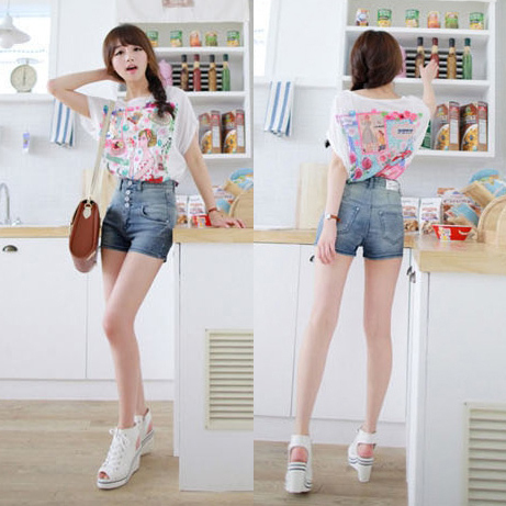2013 Light Color Ladies Short Ladies New Design Jeans Middle Waist Free Shipping  9262