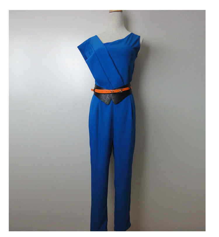 2013 Luxury Summer Fashion Women's Sexy Sleeveless jumpsuit with the Belt Band New Blue Color Free Shipping