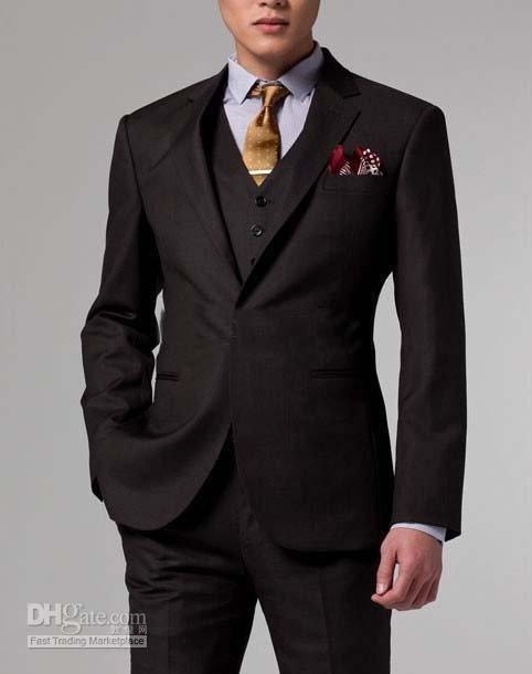 2013 - Men Business Custom made suit Men dark brown Three piece Suit( jacket + pants + vest )