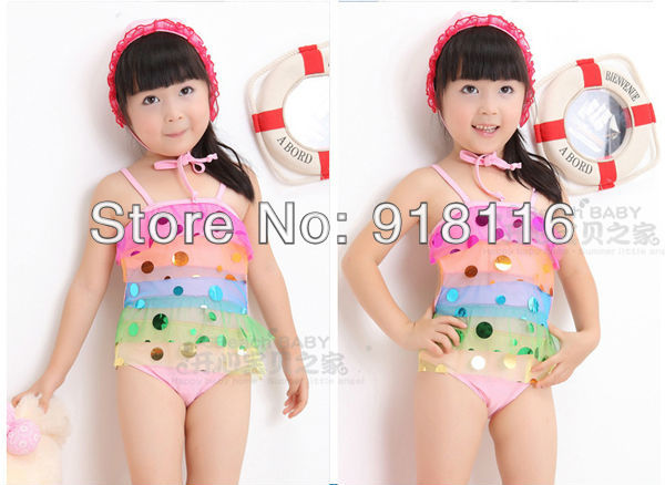 2013 New Arrival Child Swimwear Colorful Sequins Baby Girls Swimsuit Dress female Child Monokinis Panties Free Shipping(2916)