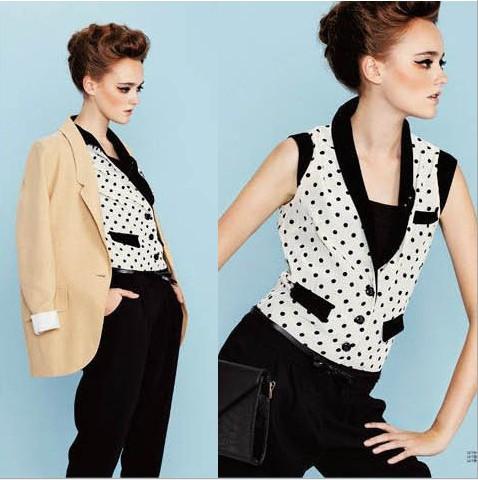 2013 new arrival fashion womens' sexy elegant polka dot black jumpsuit sleeveless tank v-neck romper casual Brand designer pants