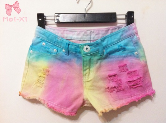 2013 New arrival Free shipping gradient color tassel holes decoration shorts women jeans Wholesale price
