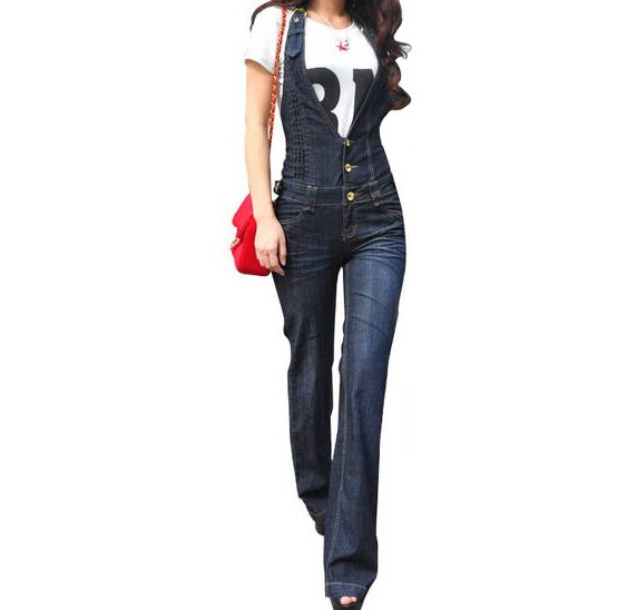2013 New Arrival Free shipping new Siamese jeans, high waist and loose suspenders jeans romper women jeans jumpsuitQ170