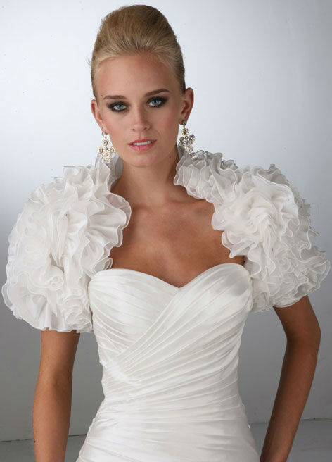 2013 New Arrival High Neck Cap Short Sleeve Delicate Tulle Wedding bridal Jacket Wraps Free Shipping