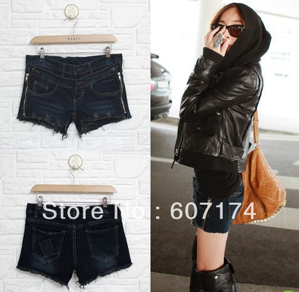 2013 new arrival&hot sell ladies summer torn edge side zipper slim denim shorts women double buckles boots shorts #2401