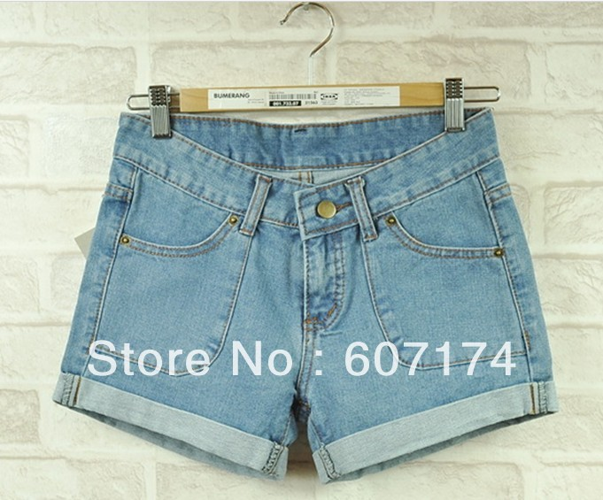 2013 New Arrival Ladies' vintage roll up hem denim jeans shorts women casual shorts&pants Size:26-31 #2397