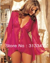 2013 New Arrival Sexy Open Nightwear nightgown lace robe&gown black rose-red 2 colors free shipping YH6666