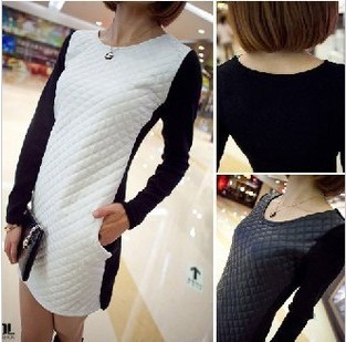 2013 new arrival spring  leather patchwork knitted one-piece dress slim long-sleeve basic skirt
