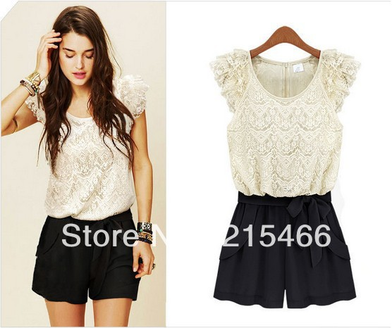 2013 New Arrival Women's Summer Fashion Lace Chiffon Patchwork Jumpsuits Rompers with Sashes Free Shipping High Quality S/M/L/XL