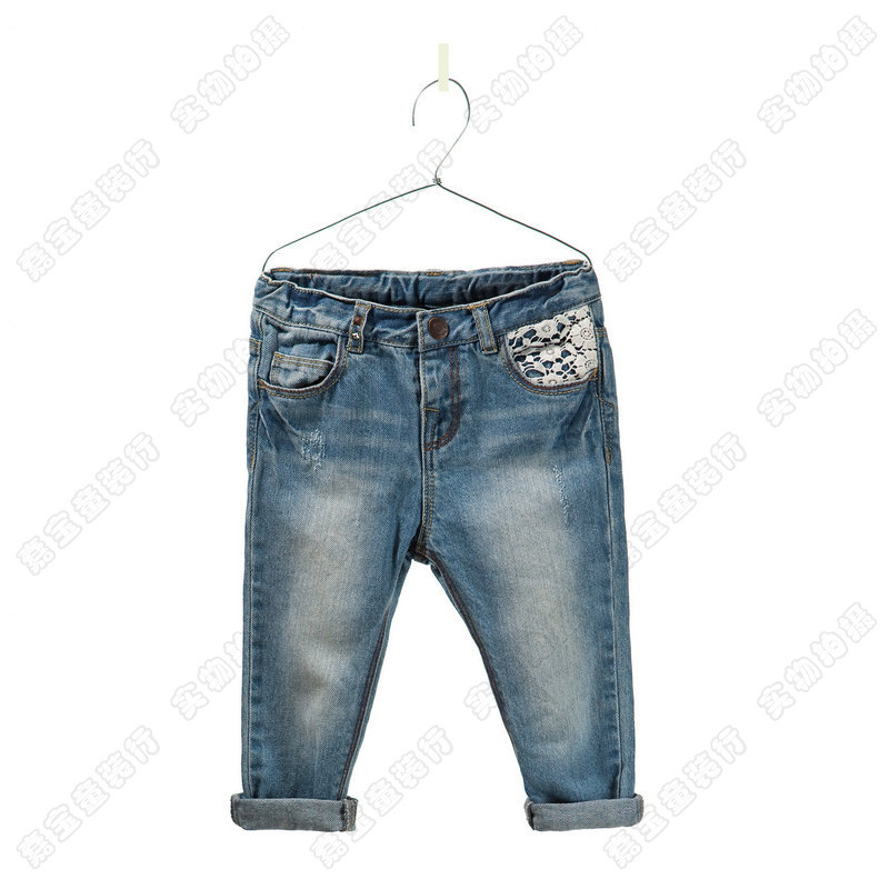 2013 New arrival  Zar* girls  lace  jeans children elastic  jeans fashionable High quality nice 5pcs/lot