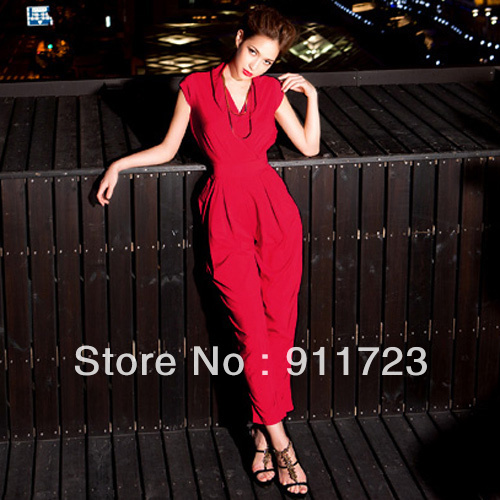 2013 new arrive European-style design casual jumpsuit for women/red v-neck jumpsuit for part