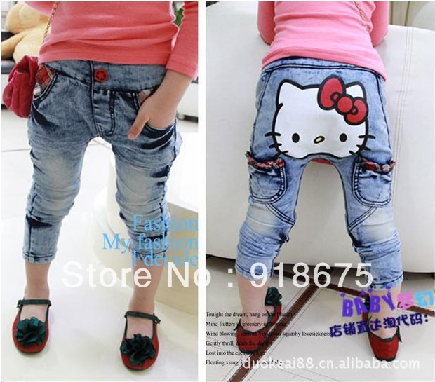 2013 new Boys and girls jeans Children's clothing jeans hello kitty cowboy PP pants kid's trousers Free Shipping 2-7 years