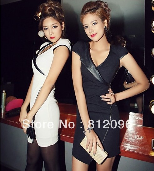 2013 new Brand designer Promotions hot trendy cozy fashion women clothes casual sexy dress Slim leather stitching party