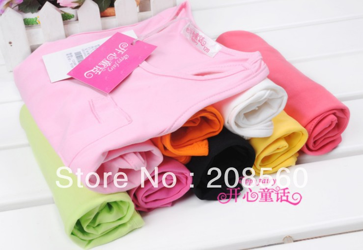 2013 New Coming Children's clothing child girl 100% cotton candy color basic vest tank a7510