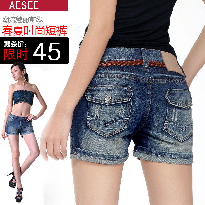 2013 New Design Fashion Women  Blue Plus Size Curling Straight Denim Shorts  High Quality Free Shipping