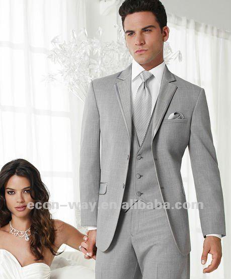2013 New Design Gray Tuxedo latest design of wedding suits (jacket+waistcoat+trouser)