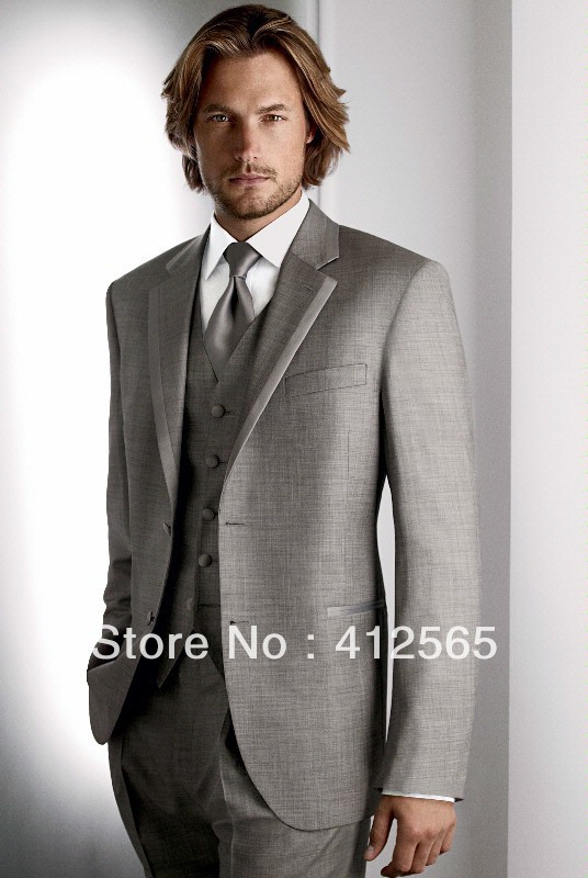 2013 New Design Gray Tuxedo men wedding suit for bridegroom  (jacket+waistcoat+trouser)