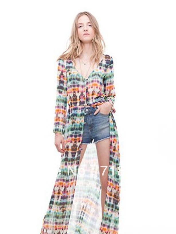 2013 NEW Dip Dye Shirred Waist Chiffon Long Cardigan Shirt Blouse Dress