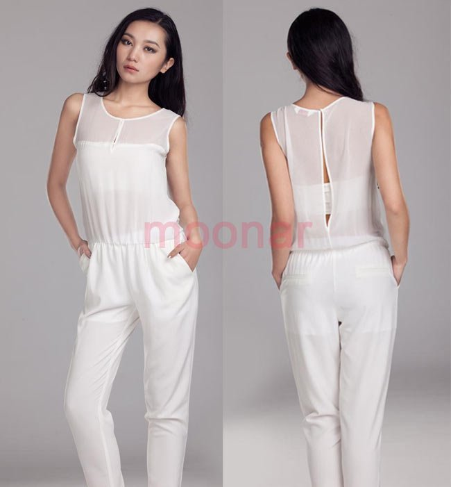 2013 NEW Elegant Chiffon women's Jumpsuit  Collarless Seethrougn Soft Romper Long Pant E0621