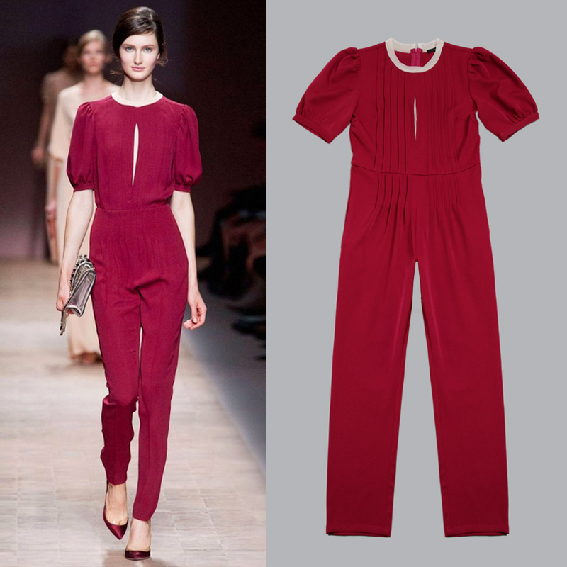 2013 NEW Europe Summer Fashion OL Brief Elegant  Pleated Hollow Out  jumpsuit trousers