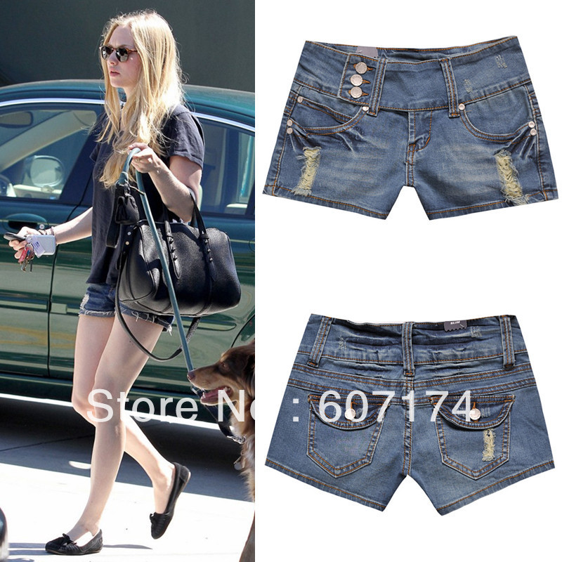 2013 New European Style Stylish Women Brand High quality buttons blue tight hole jeans shorts casual lady's shorts #2427