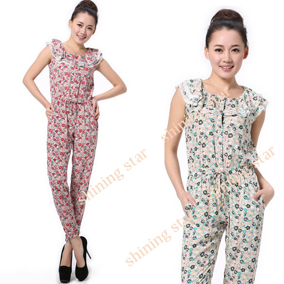 2013 New Fashiion Women's Button Flower Jumpsuit Sleeveless Romper  Green/ Red S M L S11228