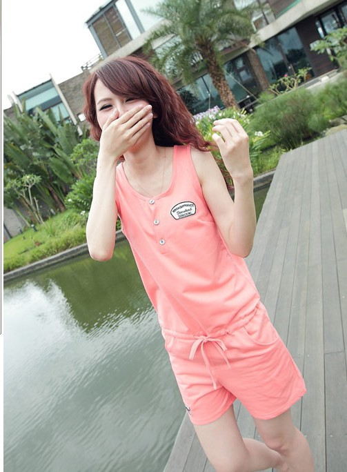 2013 new fashion brand short sleeve well-fitting Rope Constriction Comfortable Jumpsuit Pink free shipping 1703510lx