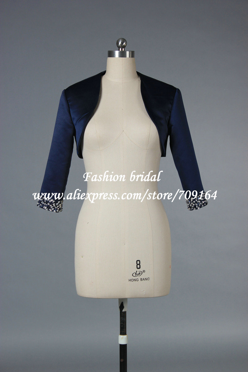2013 New Fashion Bridal Bolero Jacket with Beaded Three Quarter Sleeve A1013 Stain Fabric